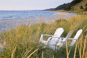 Chairs on beach at Lake Michigan.